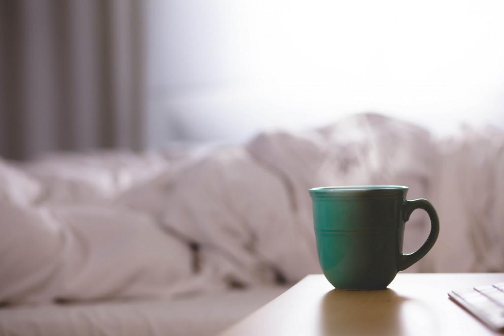 coffee on nightstand